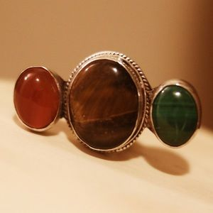 Triple Stone Sterling Silver Ring